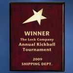 Piano Finish Wood Plaque with Brass Star Employee Awards