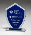 Shield-Shaped Glass Award with Blue Center and Etched Laurel Wreath Employee Awards