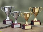 Trophy Cups with Piano Finish Wood Base Gold Cup Trophies